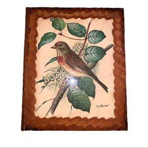 Vintage Mid Century Bird Lithograph Signed Plaque